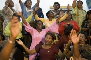 Women in the DR Congo celebrating the Goma peace agreement (Marie Frechon / UN Photo)