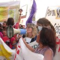 Sofía Gatica, with a loudspeaker, at a protest against agrochemicals. Credit: Mothers of Ituzaingó