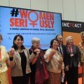 Von links nach rechts: Luz Mendez (Guatemala), Gaby Vermot (Schweiz), Irene Santiago (Philippinen), Anwarul Chowdury (Bangladesch), Melanne Verveer (USA), Leymah Gbowee (Liberia). Foto: Ute Scheub