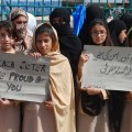 Schoolgirls at a demonstration in Peshawar in support of Malala Yousafzai. Credit: Ashfaq Yusufzai/IPS